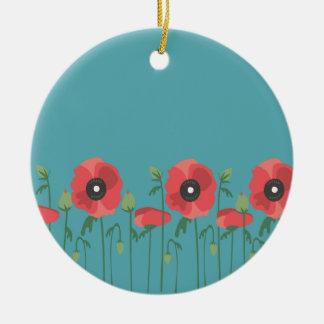 Ornamento De Cerâmica Papoilas de florescência da primavera