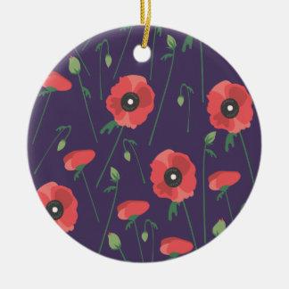 Ornamento De Cerâmica Papoilas de florescência da primavera roxas
