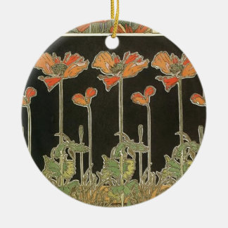 Ornamento De Cerâmica Papoilas populares de Nouveau da arte do vintage