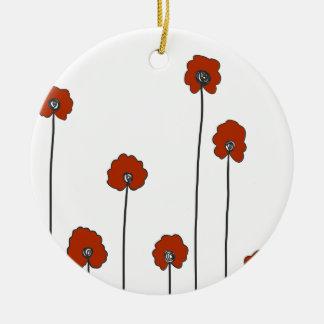 Ornamento De Cerâmica papoilas vermelhas