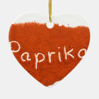 Ornamento De Cerâmica Paprika da palavra escrita no pó da paprika