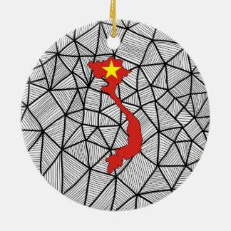 Ornamento De Cerâmica Para miúdos: Bandeira criativa de Vietnam com mapa