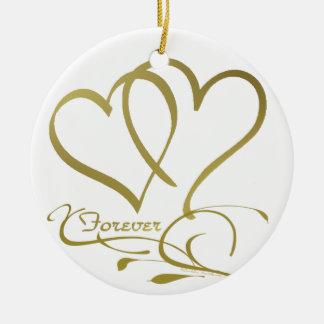 Ornamento De Cerâmica Para sempre cores editáveis do fundo do ouro dos