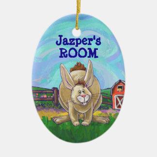 Ornamento De Cerâmica Parada bonito do animal do coelho