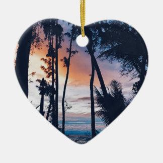 Ornamento De Cerâmica Paraíso do por do sol de Havaí