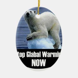 Ornamento De Cerâmica Pare o aquecimento global agora