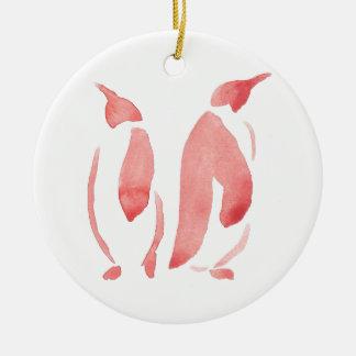 Ornamento De Cerâmica Pares vermelhos do pinguim