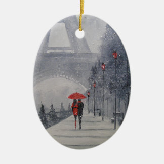 Ornamento De Cerâmica Paris na neve