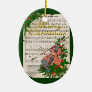 Ornamento De Cerâmica Partitura do natal vintage com violino festivo