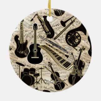 Ornamento De Cerâmica Partitura e preto dos instrumentos/ouro ID481