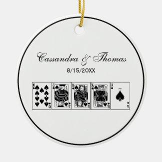 Ornamento De Cerâmica Pás reais do resplendor reto do póquer da noite do