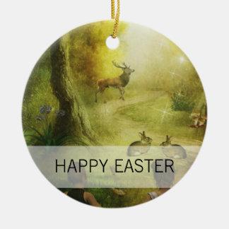 Ornamento De Cerâmica Páscoa bonita da cena da floresta do coelho do