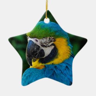 Ornamento De Cerâmica Pássaro azul e amarelo