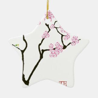 Ornamento De Cerâmica pássaro branco do olho da flor de sakura,