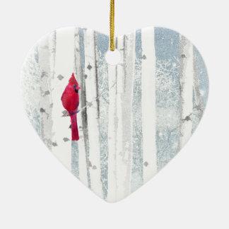 Ornamento De Cerâmica Pássaro cardinal vermelho na árvore de vidoeiro