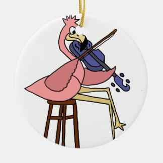 Ornamento De Cerâmica Pássaro cor-de-rosa do flamingo que joga o violino