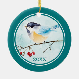 Ornamento De Cerâmica Pássaro da aguarela em um Sprig da baga do inverno