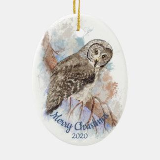 Ornamento De Cerâmica Pássaro datado feito sob encomenda da coruja de