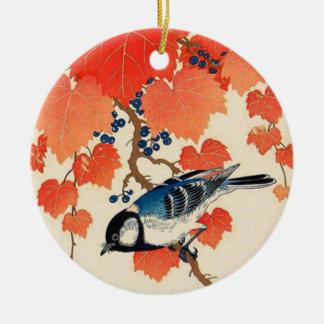 Ornamento De Cerâmica Pássaro de Jay do japonês do vintage e vinha do
