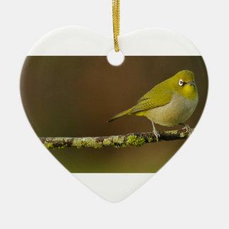 Ornamento De Cerâmica Pássaro do Branco-Olho do cabo empoleirado