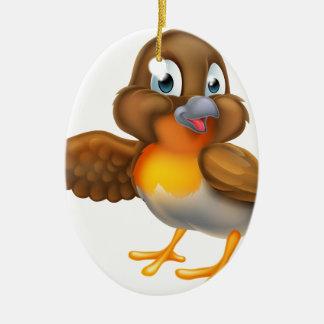 Ornamento De Cerâmica Pássaro do pisco de peito vermelho dos desenhos