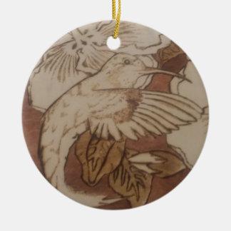 Ornamento De Cerâmica Pássaro do zumbido do hibiscus