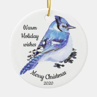 Ornamento De Cerâmica Pássaro feito sob encomenda de Jay azul da