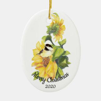 Ornamento De Cerâmica Pássaro feito sob encomenda do girassol da