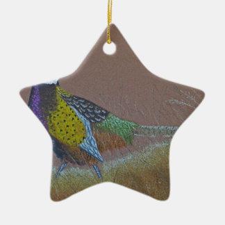 Ornamento De Cerâmica Pássaro selvagem do faisão do pescoço do anel
