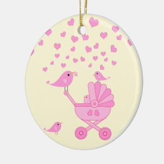 Ornamento De Cerâmica Pássaros cor-de-rosa com carrinho de criança - o
