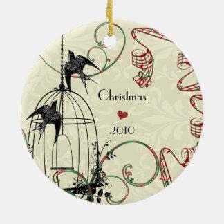 Ornamento De Cerâmica Pássaros da foto de família & gaiola de pássaro no