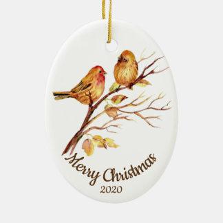 Ornamento De Cerâmica Pássaros datado feitos sob encomenda do pardal da