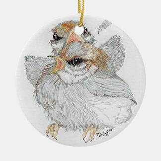 Ornamento De Cerâmica Pássaros de bebê