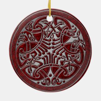 Ornamento De Cerâmica Pássaros do nó celta & prata vermelhos - lembrança