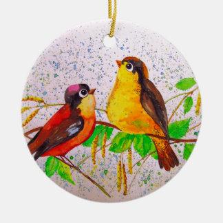 Ornamento De Cerâmica Pássaros do primavera