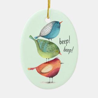 Ornamento De Cerâmica Pássaros gordos bonitos que estão em se
