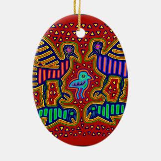 Ornamento De Cerâmica Pássaros indianos de Kuna com peixes