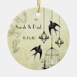 Ornamento De Cerâmica Pássaros musicais preto & cinzas do vintage 3