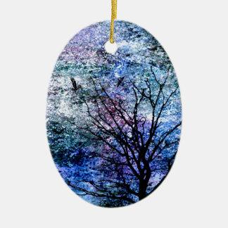 Ornamento De Cerâmica Pássaros na árvore no céu Sparkling
