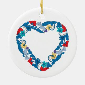 Ornamento De Cerâmica Pássaros originais do amor do casamento no coração