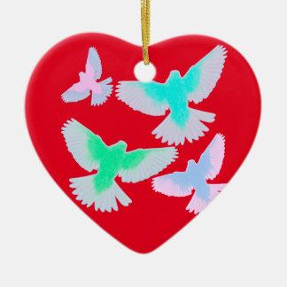 Ornamento De Cerâmica Pássaros Pastel