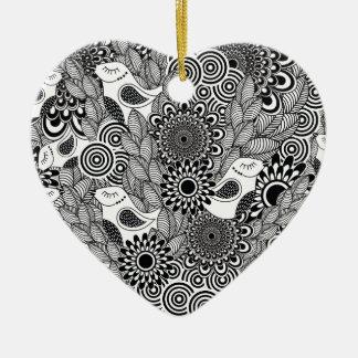 Ornamento De Cerâmica pássaros preto e branco tropicais