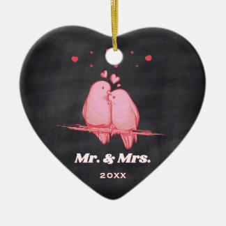 Ornamento De Cerâmica Pássaros Sr. & Sra. Quadro Natal do amor