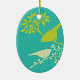 Ornamento De Cerâmica Pássaros verdes da modificação