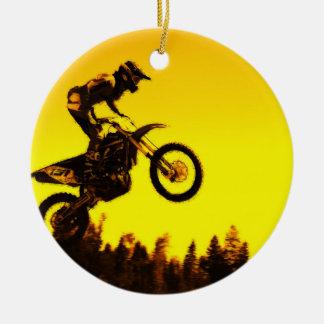 Ornamento De Cerâmica Passeio do por do sol   - cavaleiro do motocross