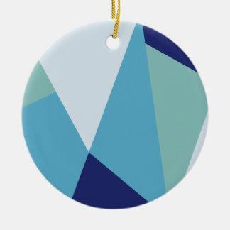 Ornamento De Cerâmica Pastel geométrico elegante dos azuis marinhos e do