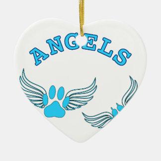 Ornamento De Cerâmica Patas do animal de estimação do anjo no azul