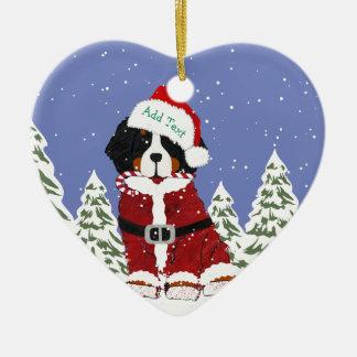 Ornamento De Cerâmica Patas feitas sob encomenda do papai noel do cão de