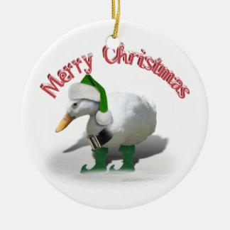 Ornamento De Cerâmica Pato do duende do Natal - o ajudante do papai noel