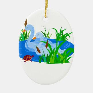 Ornamento De Cerâmica Patos na água